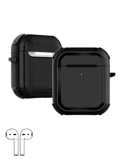 AirPod 1/2 hard case cover with keychain Black M1