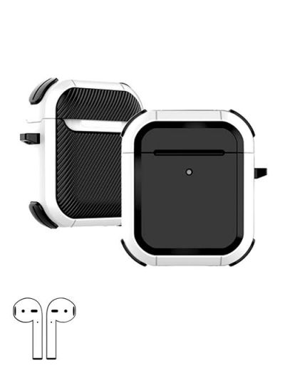 AirPod 1/2 hard case cover with keychain White M1