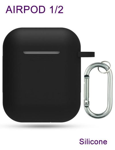 AirPod 1/2 case cover with keychain Silicone Black