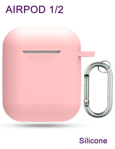 AirPod 1/2 case cover with keychain Silicone Pink