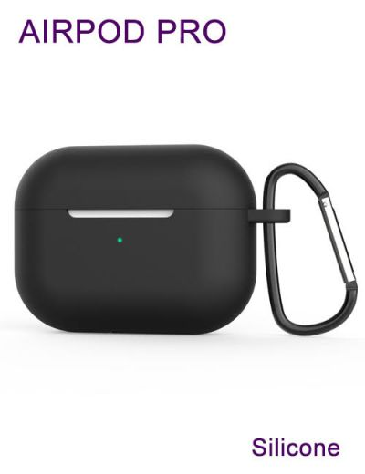 AirPod Pro case cover with keychain,Silicone Black