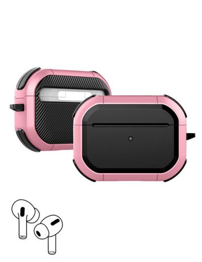 AirPod Pro hard case cover with keychain Pink M1
