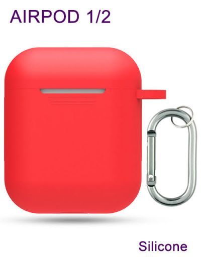 AirPod 1/2 case cover with keychain Silicone Red