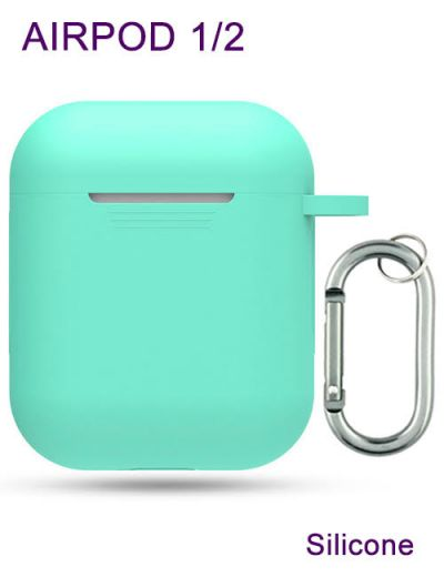 AirPod 1/2 case cover with keychain,Silicone Turquoise
