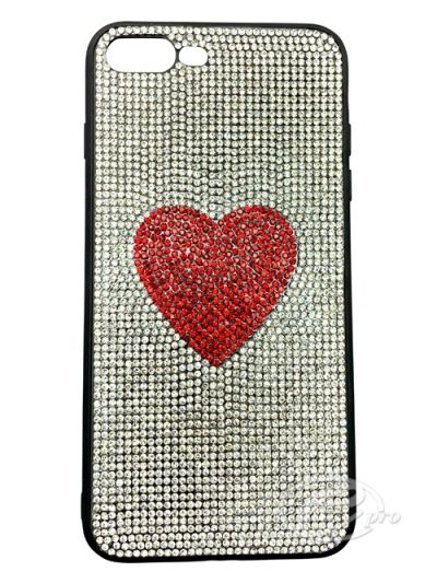 iPhone 7/8 Silver/Red Heart Bling case