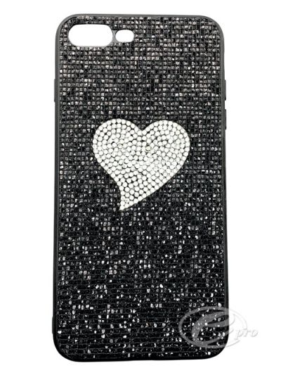 iPhone 7/8 Black/Silver Heart Bling case